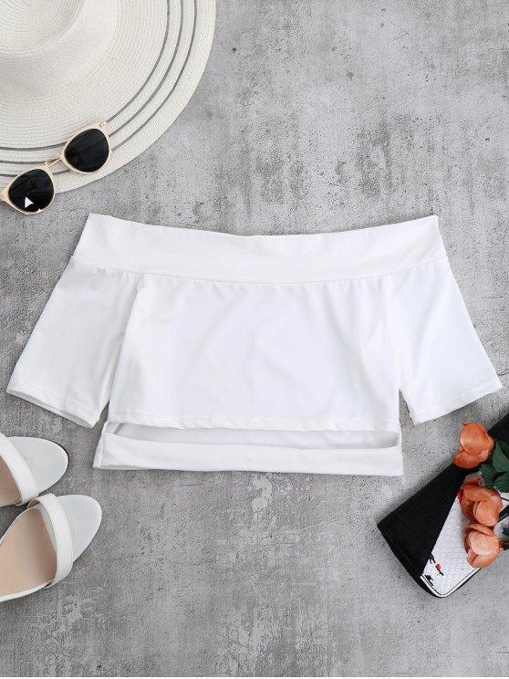 hot Off Shoulder Cut Out Crop Top - WHITE XL