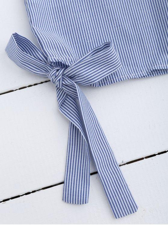 Stripes Lace Panel Top - LIGHT BLUE L Mobile