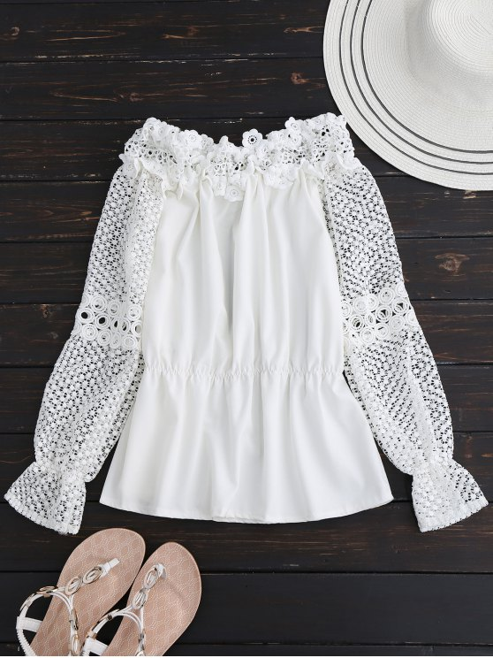 Crochet Lace Off The Shoulder Top - WHITE XL Mobile