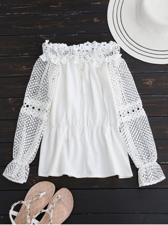 Crochet Lace Off The Shoulder Top - WHITE S Mobile