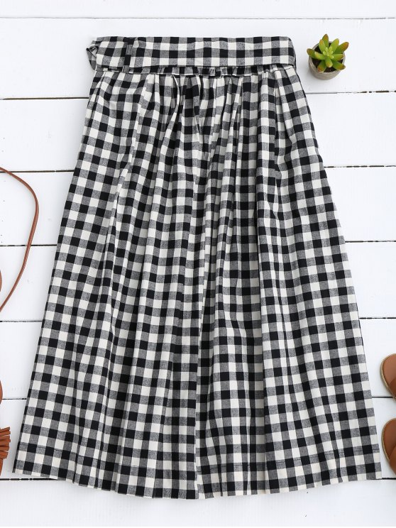 Button Up Bowknot A-Line Skirt - BLACK S Mobile