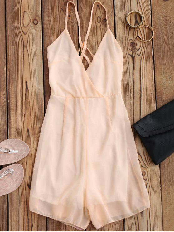 outfits Crossover Cami Chiffon Beach Romper - PINK L