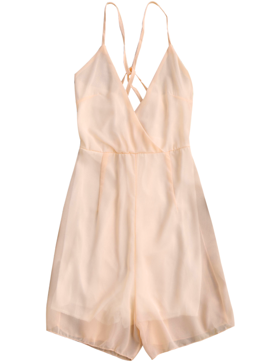 Crossover Cami Chiffon Beach Romper - PINK S Mobile