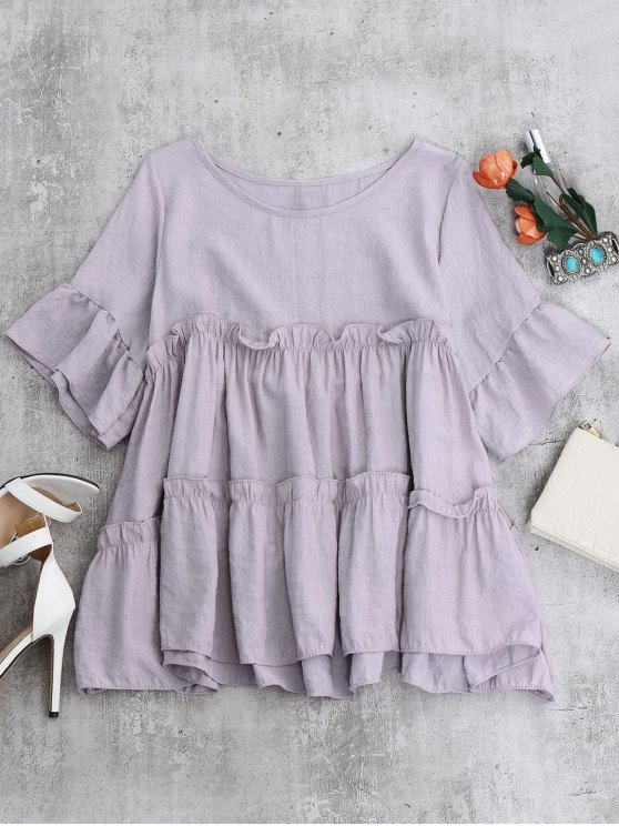 Ruffles Smock Blouse - LIGHT PURPLE ONE SIZE Mobile