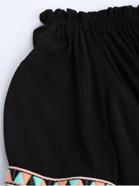 Off Shoulder Flare Sleeve Tassel Blouse - BLACK ONE SIZE Mobile