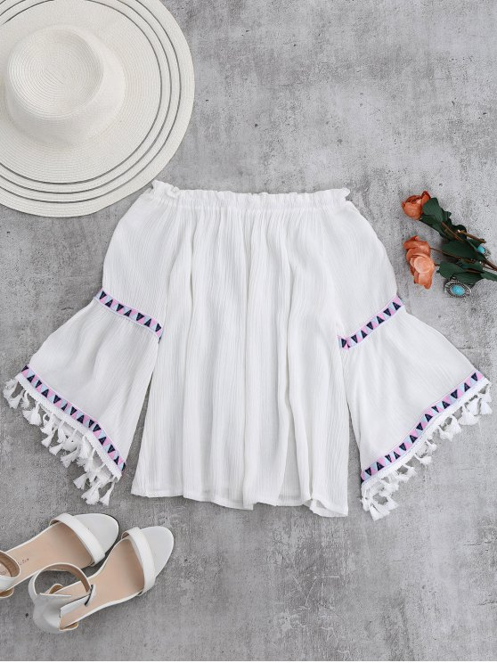 Off Shoulder Flare Sleeve Tassel Blouse - WHITE ONE SIZE Mobile