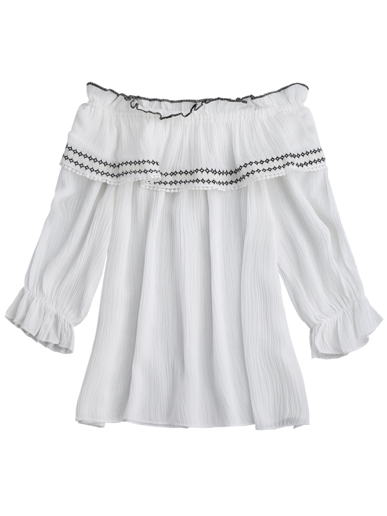 Off The Shoulder Ruffle Embroidered Blouse - WHITE ONE SIZE Mobile