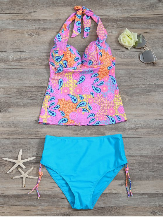 High Waisted Paisley Runched Tankini - LAKE BLUE S Mobile
