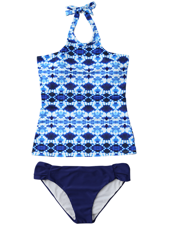 Halter Tie-Dyed Padded Tankini Set - PURPLISH BLUE S Mobile