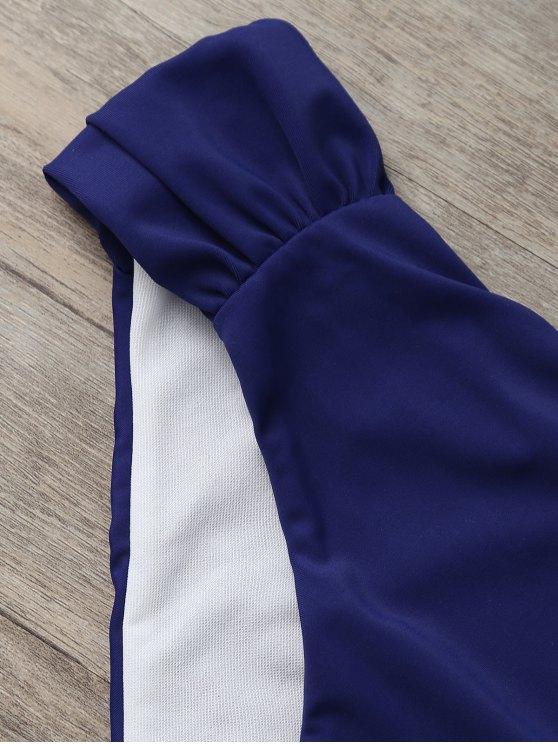 Halter Tie-Dyed Padded Tankini Set - PURPLISH BLUE M Mobile