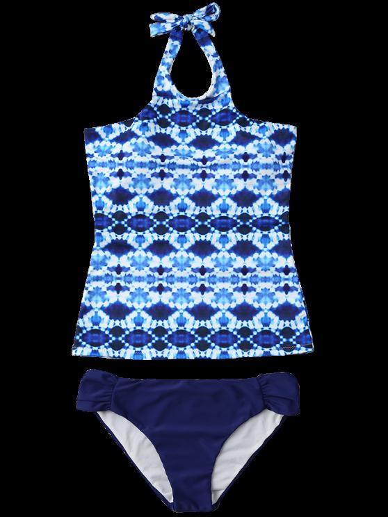 Halter Tie-Dyed Padded Tankini Set - PURPLISH BLUE XL Mobile