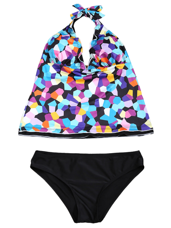 Halter Colorful Geometric Print Tankini Set - BLACK S Mobile