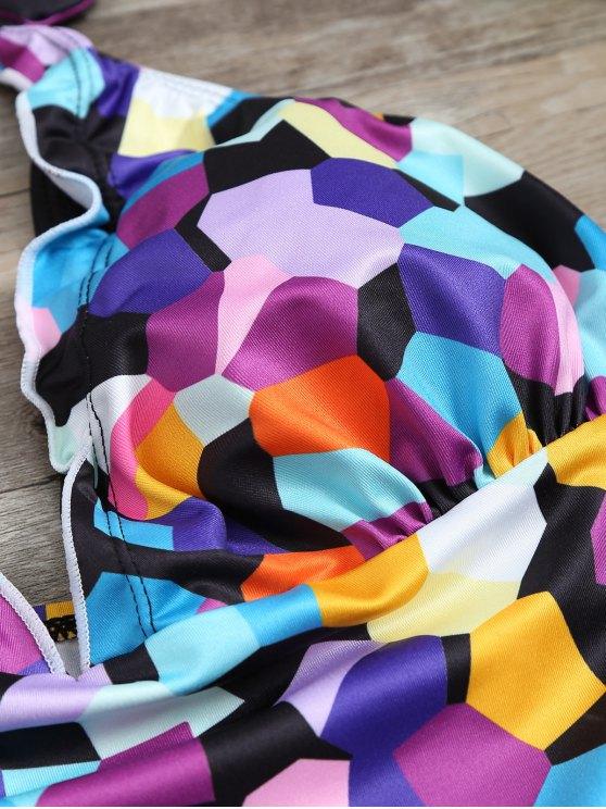 Halter Colorful Geometric Print Tankini Set - BLACK M Mobile