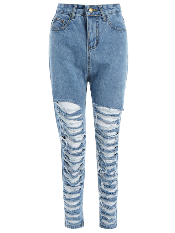 Tapered Distressed Jeans - DENIM BLUE M Mobile