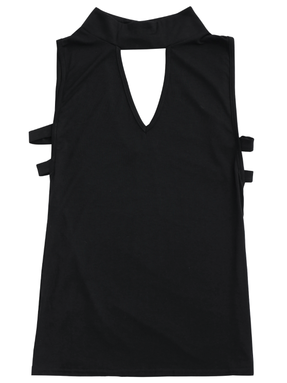 Stand Collar Armhole Cut Out Tank Top - BLACK M Mobile