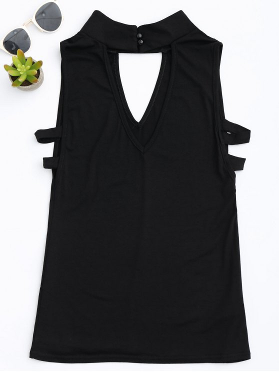Stand Collar Armhole Cut Out Tank Top - BLACK XL Mobile