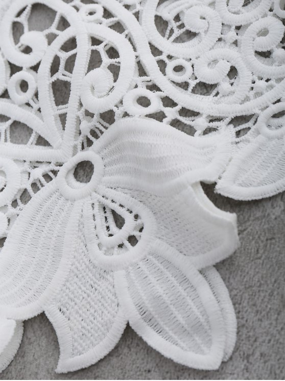 Crocheted Lace See Thru Cropped Tank Top - WHITE ONE SIZE Mobile