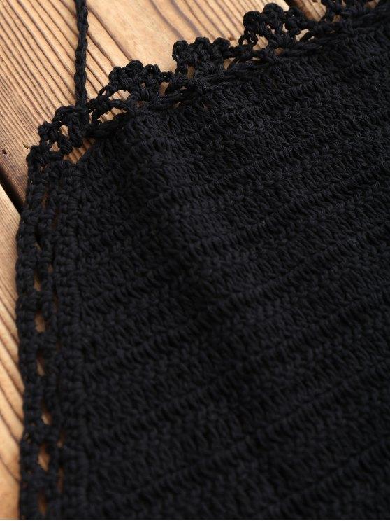 Halter Crochet Crop Top - BLACK ONE SIZE Mobile