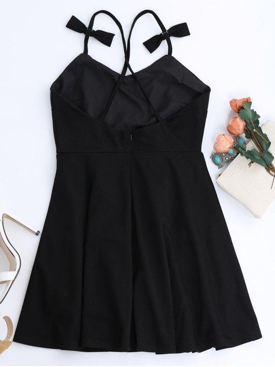 Bowknot Slip Skater Backless Dress - BLACK S Mobile