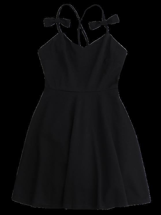 Bowknot Slip Skater Backless Dress - BLACK L Mobile