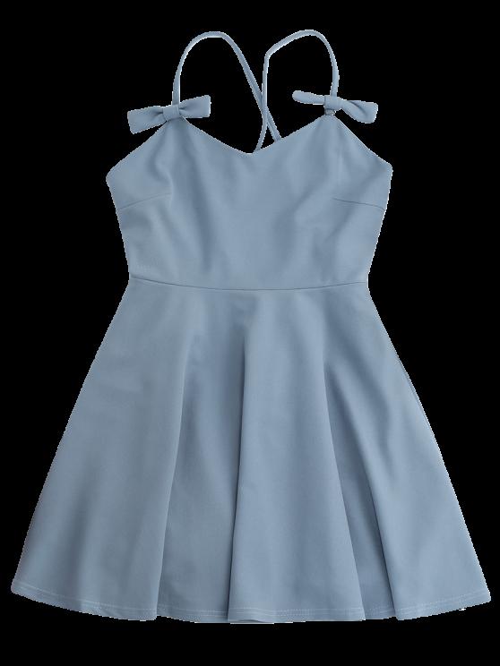 Bowknot Slip Skater Backless Dress - LIGHT BLUE S Mobile