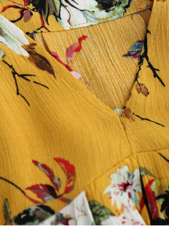 Cut Out Floral Tunic Dress - YELLOW L Mobile
