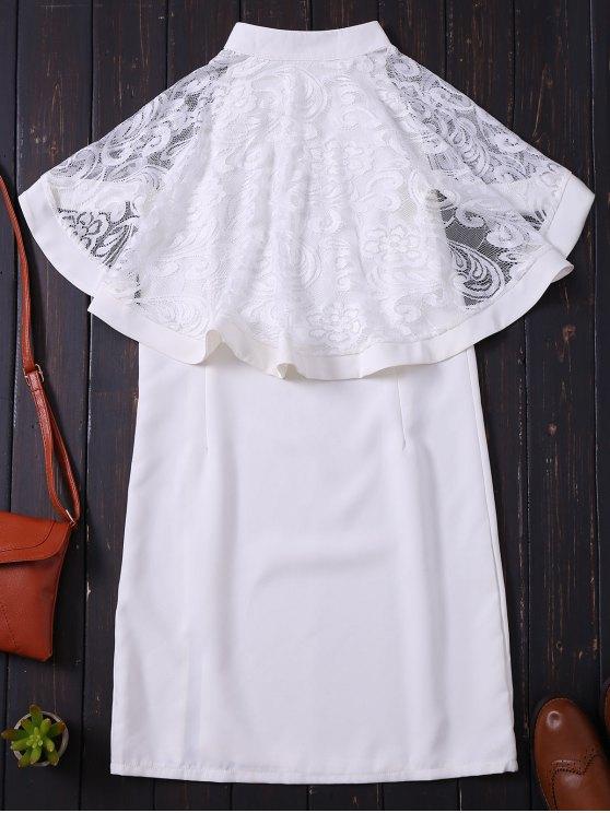 Zip Up Lace Cape Bodycon Dress - WHITE L Mobile