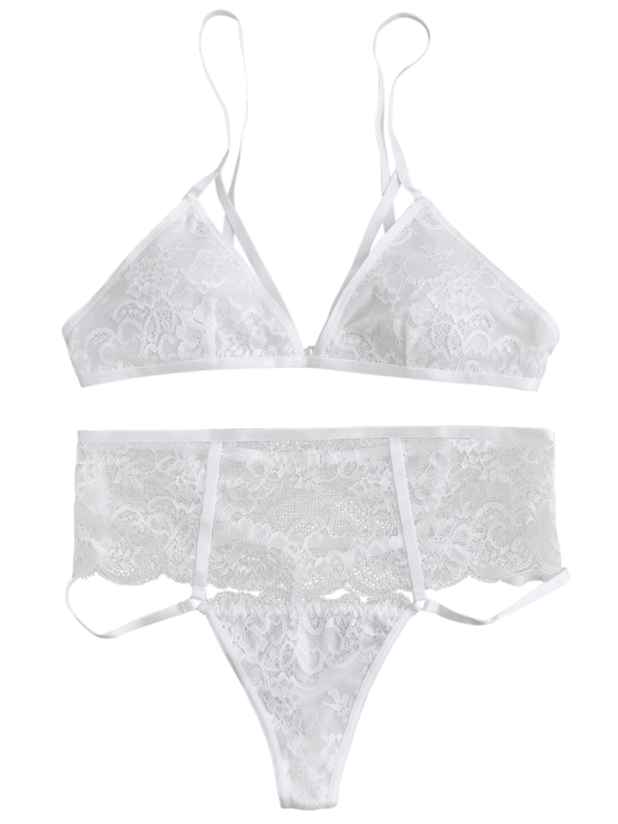 Cut Out High Waisted Banded Lace Bra Set - WHITE M Mobile