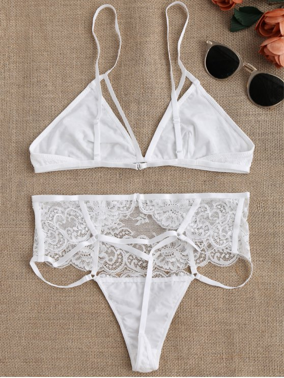 Cut Out High Waisted Banded Lace Bra Set - WHITE S Mobile