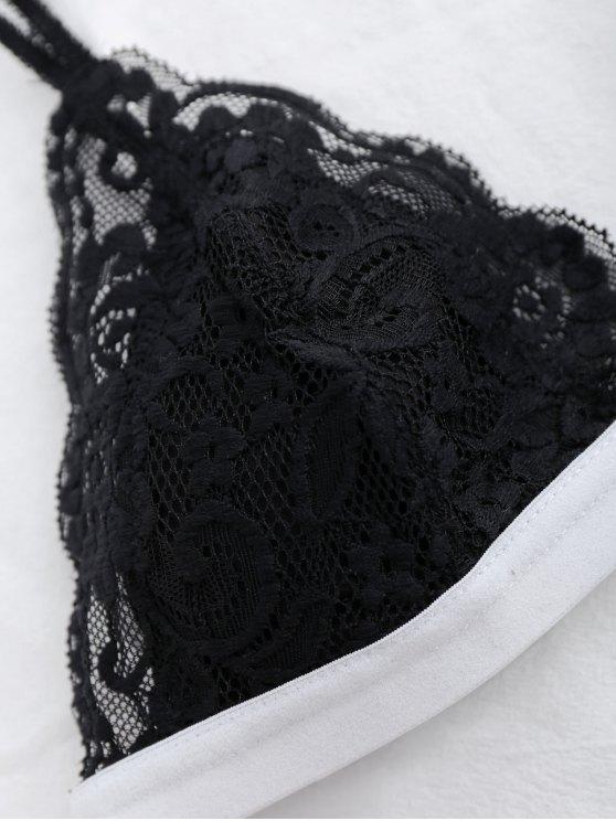 Lace Color Block Bra - BLACK S Mobile
