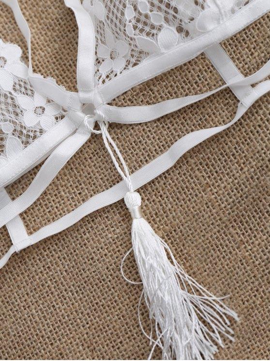 Strappy Tassels Bandage Lace Bra - WHITE M Mobile