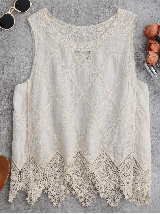 Cotton Blend Lace Geometric Scalloped Tank Top - OFF-WHITE ONE SIZE Mobile