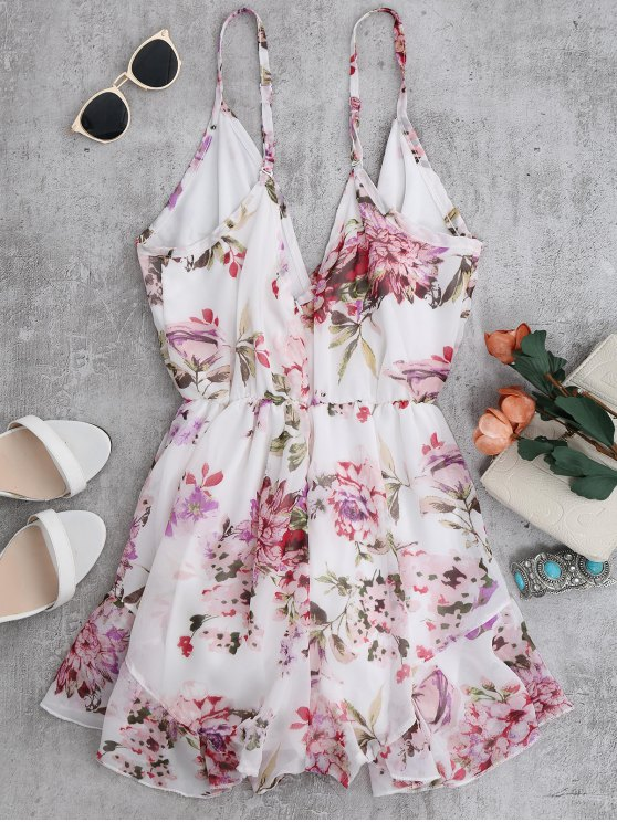 Cami Floral Chiffon Holiday Romper - WHITE S Mobile
