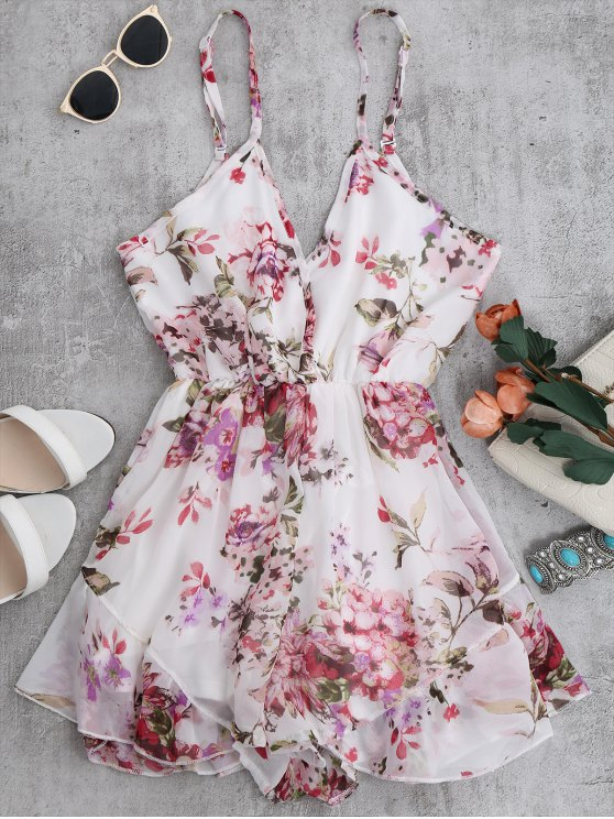 Cami Floral Chiffon Holiday Romper - WHITE XL Mobile