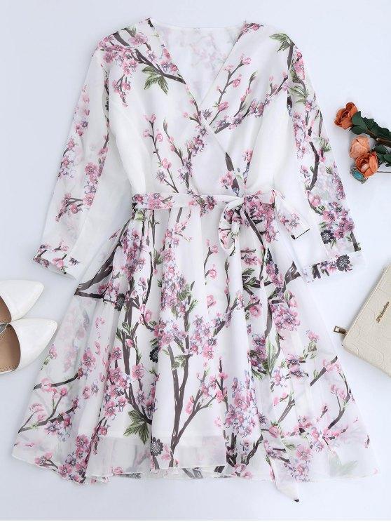 Floral Surplice Chiffon Flowy Dress - WHITE L Mobile