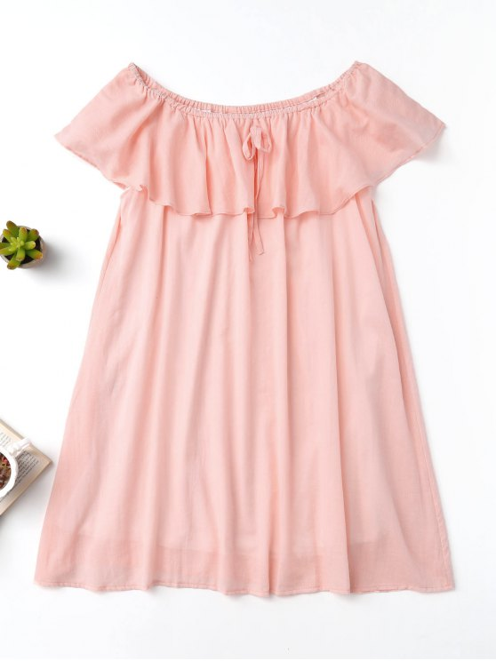 outfit Frilly Off The Shoulder Dress - PINK S