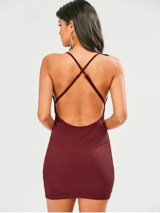 Criss Cross Backless Bodycon Dress - WINE RED XL Mobile