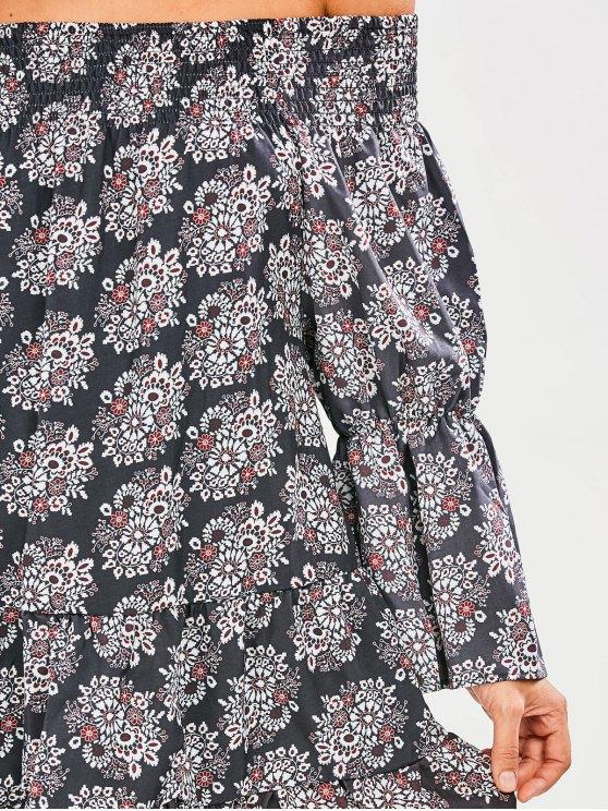 Floral Off The Shoulder Tunic Dress - BLACK XL Mobile