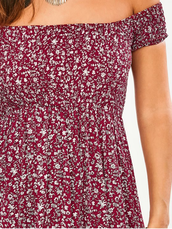 Tiny Floral Off The Shoulder Slit Dress - FLORAL L Mobile