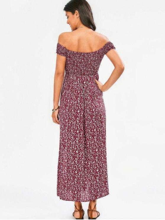 Tiny Floral Off The Shoulder Slit Dress - FLORAL S Mobile