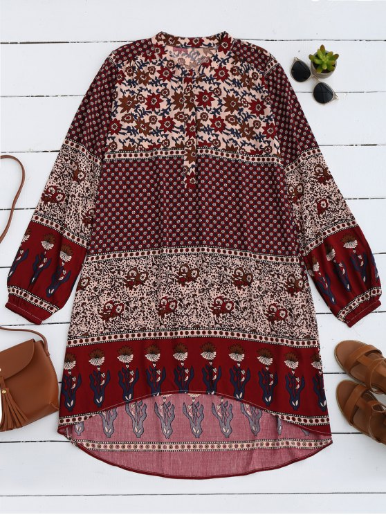 latest Printed High Low Long Sleeve Dress - WINE RED S