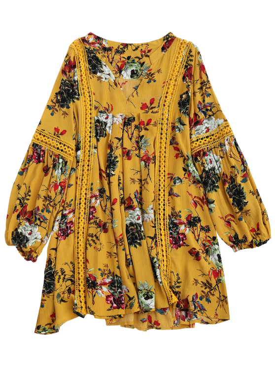 Cut Out Floral Tunic Dress - YELLOW M Mobile