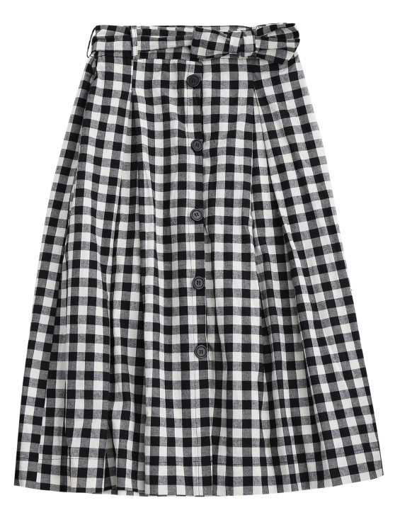 Button Up Bowknot A-Line Skirt - BLACK L Mobile
