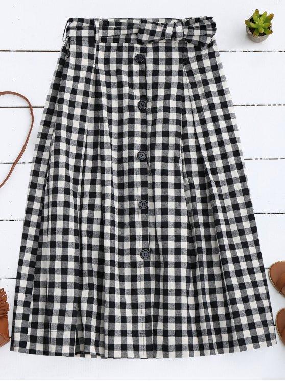 Button Up Bowknot A-Line Falda - Negro M