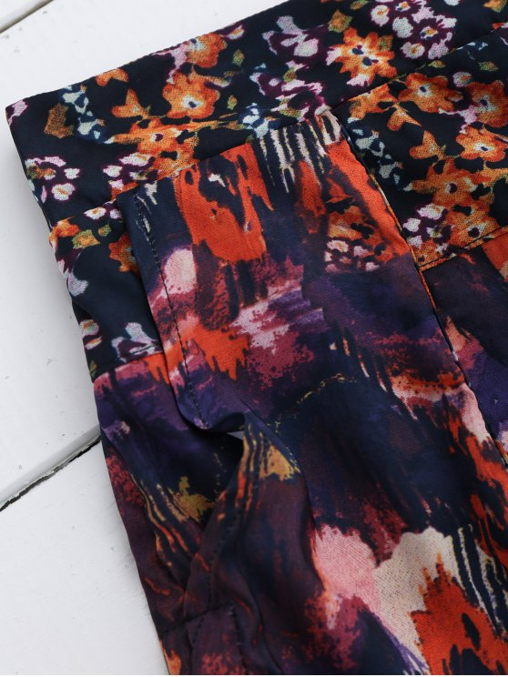 Elastic Waist Floral Shorts - FLORAL S Mobile