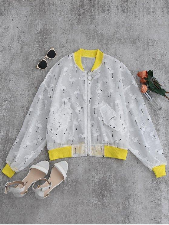 chic Crane Color Block Sunblock Baseball Jacket - YELLOW L