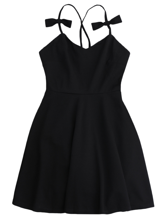 Bowknot Slip Skater Backless Dress - BLACK M Mobile