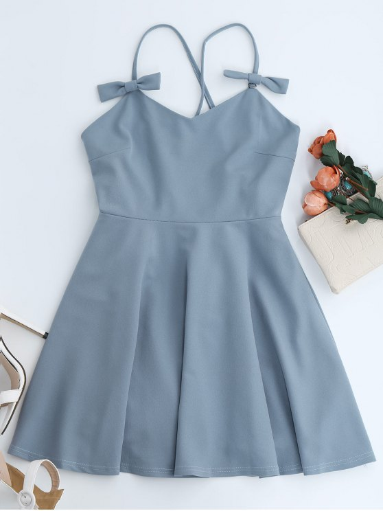 Bowknot Slip Skater Backless Dress - LIGHT BLUE L Mobile