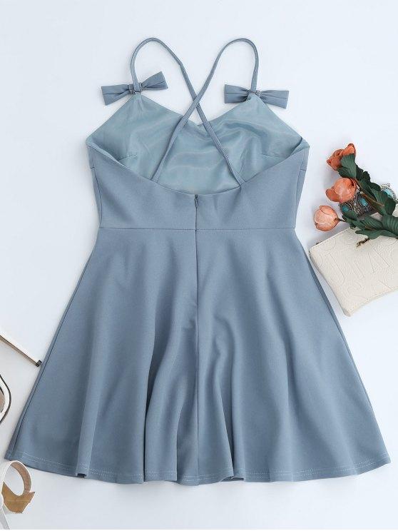 Bowknot Slip Skater Backless Dress - LIGHT BLUE M Mobile
