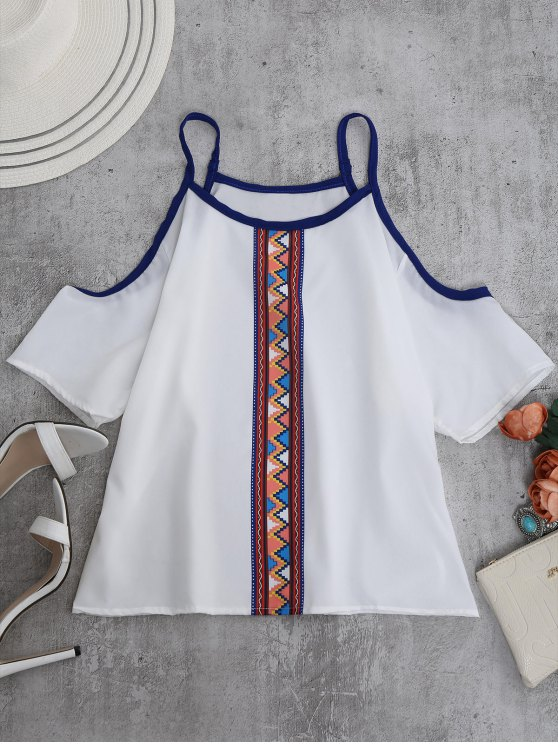 outfit Spaghetti Strap Cold Shoulder Printed Top - WHITE S